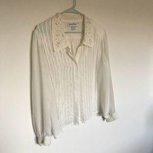 Vintage lace collar button down shirt